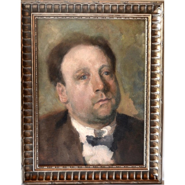 An impressive striking 1920 oil painting by Dutch painter, Otto Hanrath (1882-1944), portrait of Johan Schimdt, signed and...