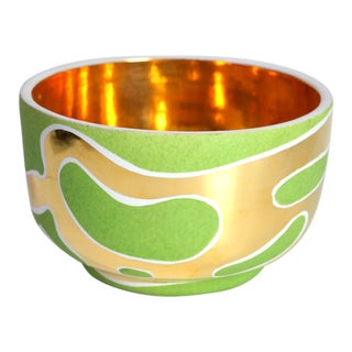 "Out of Production 2011 Waylande Gregory Lime Green & Gold Biomorphic ""Lava"" Cachepot Bowl For Sale"
