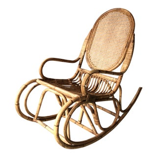 1960's Vintage Rattan Bamboo Rocking Chair For Sale