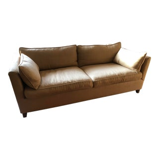 Custom Made Golden Taupe Down Fabric Sofa For Sale