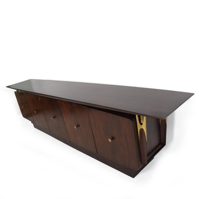 Mid Century Modern Solid Mahogany & Brass Credenza Attributed to Eugenio Escudero - Image 3 of 7