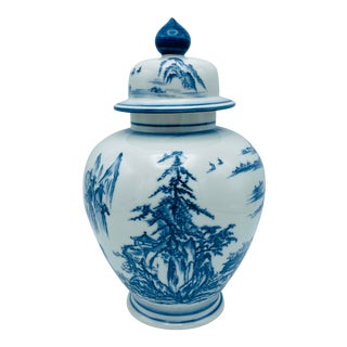 1960s Chinoiserie Blue and White Porcelain Ginger Jar With Scene For Sale