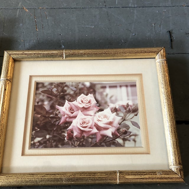 1960s Gallery Wall Collection-4 Vintage Small Flower Photos in Faux Bamboo Frames - Set of 4 For Sale - Image 5 of 7