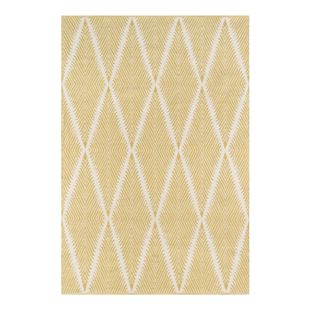 """Erin Gates by Momeni River Beacon Citron Indoor Outdoor Hand Woven Area Rug - 5' X 7'6"""" For Sale"""