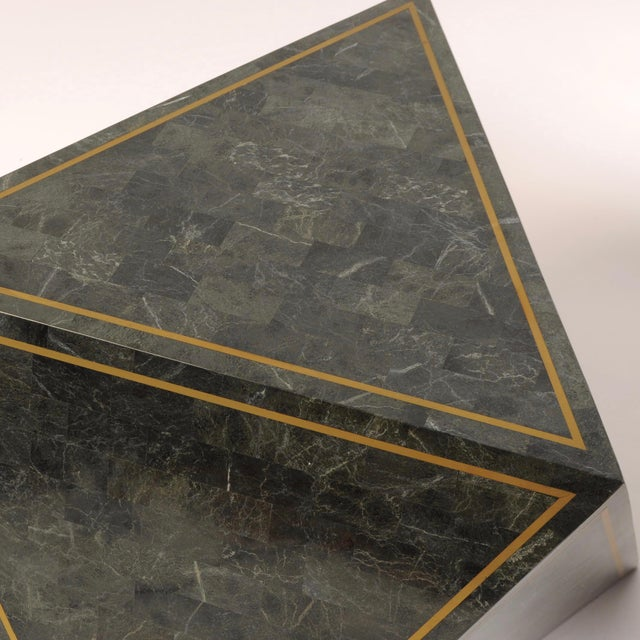 Mid-Century Modern 1980s Octahedron Tessellated Marble Side Tables For Sale - Image 3 of 10