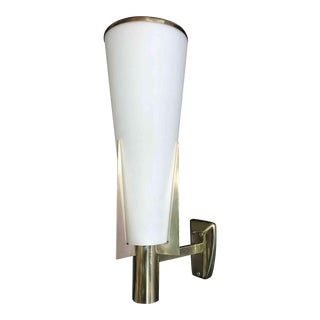 1960s Frosted Glass and Brass Original Sconces by Stilnovo For Sale