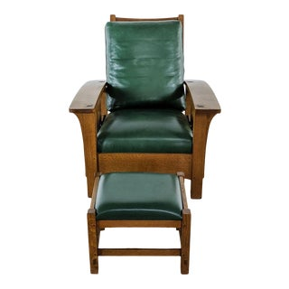 Stickley Green Armchair and Ottoman For Sale