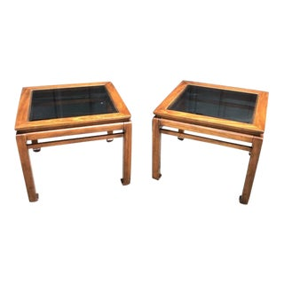 Mid-Century Chinoiserie Mahogany Ming-Leg Side Tables- A Pair For Sale
