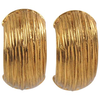 Yves Saint Laurent Ysl Paris Signed Clip on Earrings Gilt Metal Half Hoop For Sale