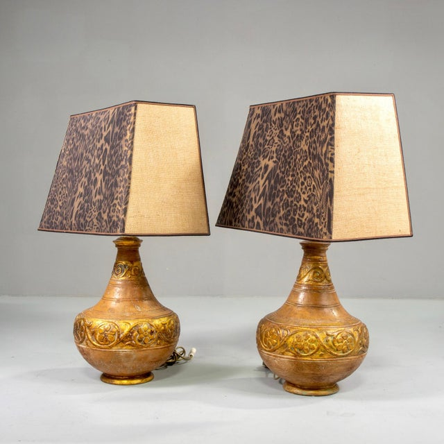 1970s Mid-Century Italian Terra Cotta Lamps With Leopard Print Shades - a Pair For Sale - Image 5 of 9