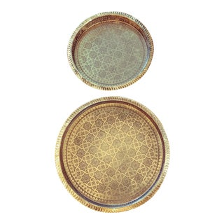 Middle Eastern Syrian Round Brass Trays - a Pair For Sale