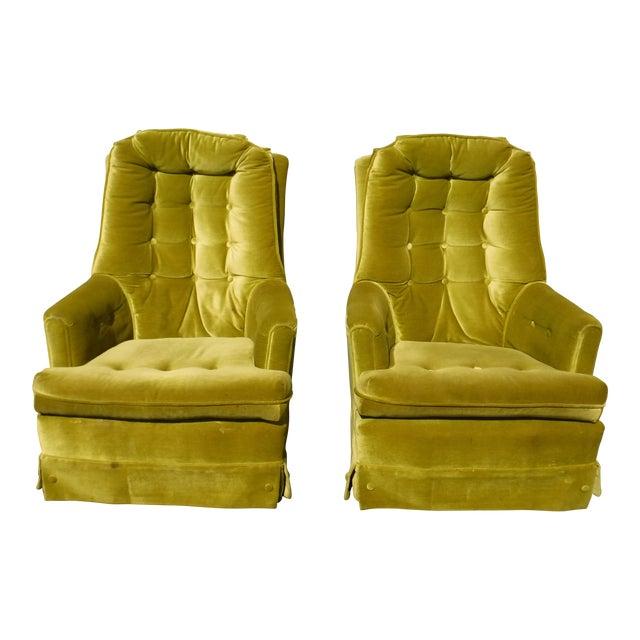 Mid Century Modern Tufted Green Velvet Swivel Chairs A Pair Chairish
