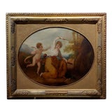 Image of 18th Century Neoclassical Oil Painting, Cupid & A Goddess For Sale
