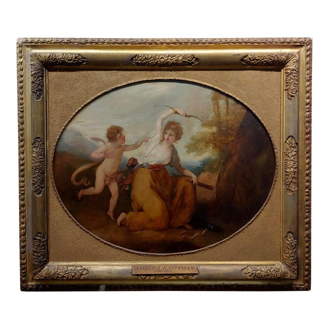 18th Century Neoclassical Oil Painting, Cupid & A Goddess For Sale