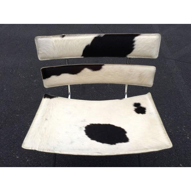 Boho Chic Cowhide & Chrome Eames Style Chair For Sale - Image 3 of 12