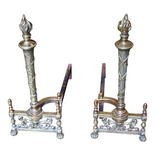 Late 19th Century Brass Andirons For Sale