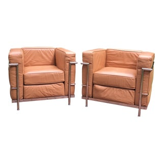 1990s Vintage Le Corbusier Lc2 Style Tan Leather Club Chairs A-Pair For Sale