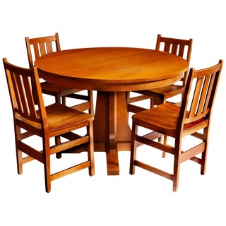Andy Warhol's Six Stickley Dining Chairs From the Factory and Extending Table For Sale