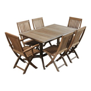 Traditional Teak Dining Set - 7 Pieces For Sale