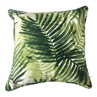 Boho Chic Green Fern Leaf Fabric Indoor/Outdoor Throw Pillow For Sale