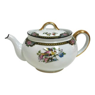 "Japanese Noritake Porcelain Teapot in ""Pheasant"" Pattern Circa 1920's For Sale"