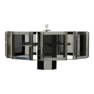 Fredrick Raymond Smoked Glass and Chrome Starburst Chandelier For Sale