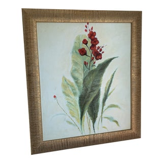 Botanical Oil Painting of Green Leaf Red Flower For Sale