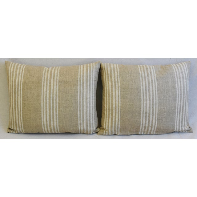 Pair of large custom-tailored double sided/reversible pillows in a woven vintage/professionally cleaned cotton/linen...