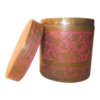 20th Century Boho Chic Indian Brass/Pink Enamel Lidded Jar For Sale