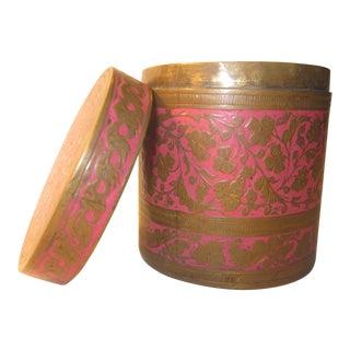 20th Century Boho Chic Indian Brass/Pink Enamel Lidded Jar For Sale