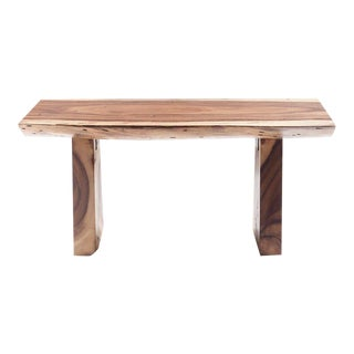Modern Live Edge Acacia Wood Bench With Wooden Legs For Sale