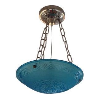 1930s Art Deco Pressed Aquamarine Blue Glass Pendant Light For Sale