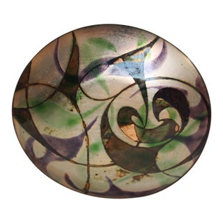 Mid-Century Modern Abstract Purple and Green Enamel on Copper Dish For Sale