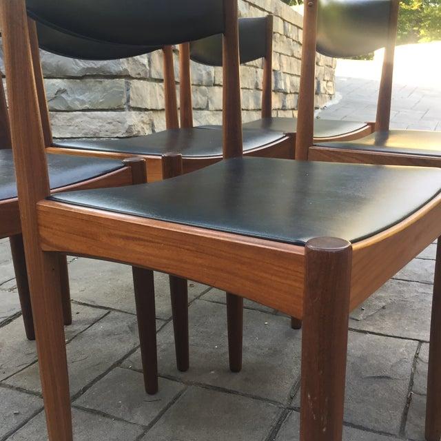Danish Modern Teak and Black Vinyl Dining Chairs - Set of 6 - Image 11 of 11