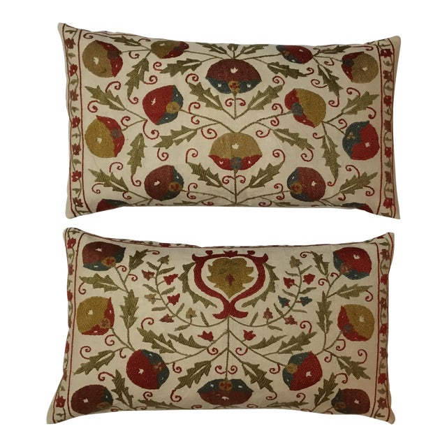 Hand Embroidery Suzani Pillows - A Pair - Image 1 of 11