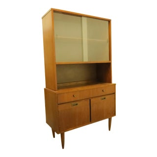 1960s Mid-Century Modern Walnut Hutch Cabinet With Sliding Glass For Sale