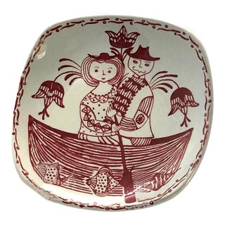 Mid-Century Scandinavian Art Pottery Plate For Sale
