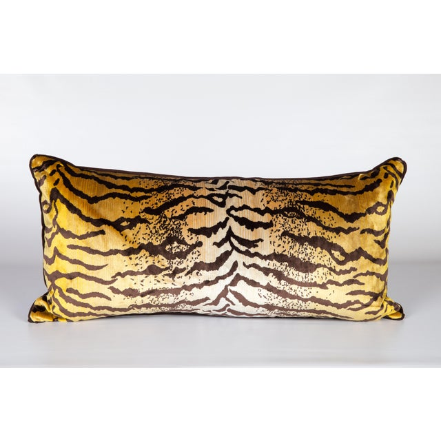 2010s Velvet and Silk Large Tiger Lumbar Pillow For Sale - Image 5 of 5