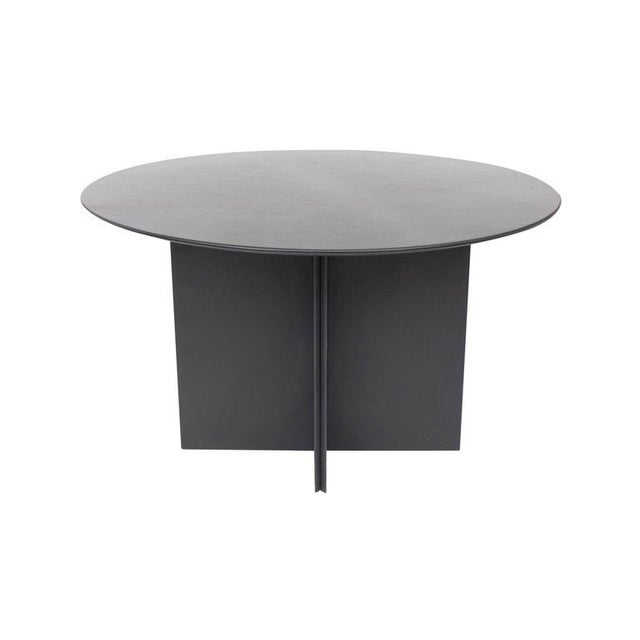 Black Round Dining Table in Black Leather for Durlet, 1970s For Sale - Image 8 of 10
