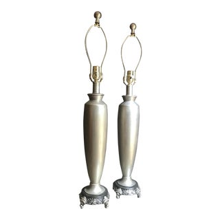 Vintage Traditional Grey Lamps - a Pair For Sale