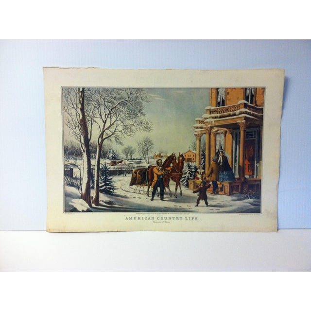 """Currier & Ives Color Print, """"American Country Life - Pleasures of Winter"""", 1947 For Sale - Image 4 of 4"""