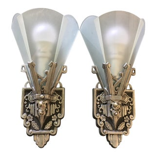 1930s Art Deco Flat Panel Wall Sconces - a Pair For Sale