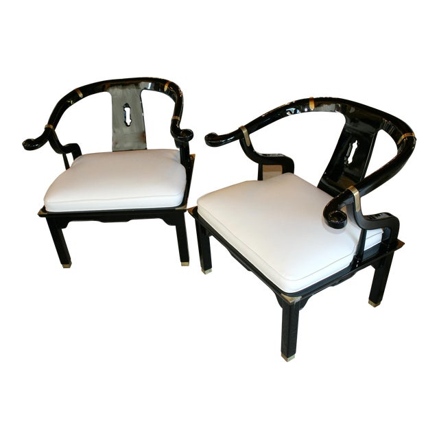 Vintage Ming Chairs in Robert Allen Faux Ostrich Fabric - Pair For Sale