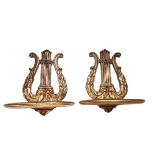 Pair Antique Italian Florentine Gilt Lyre Wall Shelves Gilt Carved Musical Wall Brackets/Sconces Rococo Gilt Harp Wall Brackets For Sale
