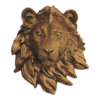 Wall Charmers Bronze Faux Taxidermy Lion Head Mount For Sale
