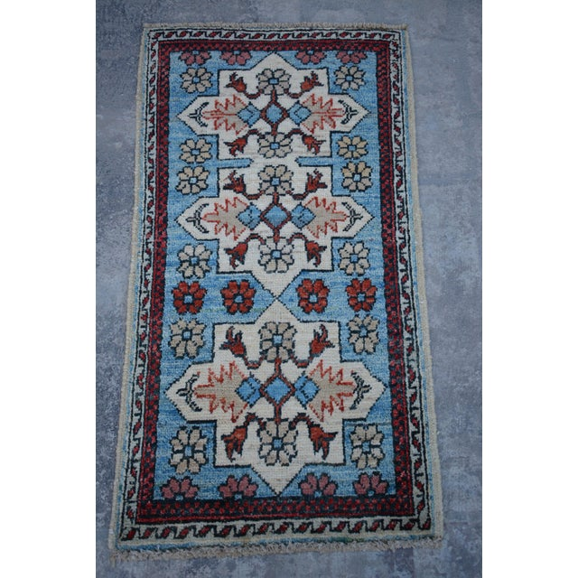 Traditional Turkoman Hand-Knotted Sky Blue Wool Rug For Sale In Orlando - Image 6 of 6