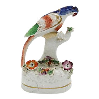 Antique English Staffordshire Parrot