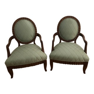 Classic Oval Back Arm Chairs by Century Furniture- a Pair For Sale