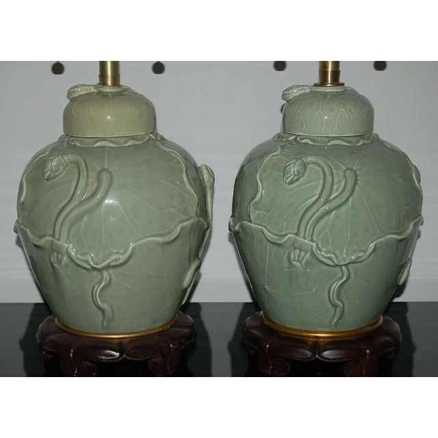 Gold Marbro Italian Porcelain Table Lamps Celadon Green For Sale - Image 8 of 10