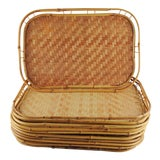 Image of Bamboo Rattan Tiki Trays - Set of 10 For Sale
